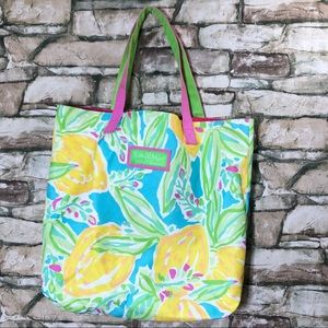 Lily Pulitzer Tote Bag Lemon Floral Shoulder Bag